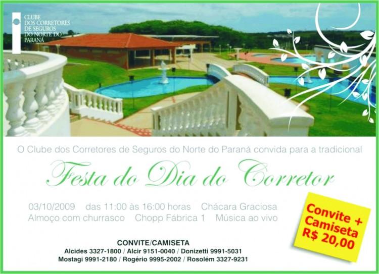 Folder da Festa do Dia do Corretor em Londrina/PR