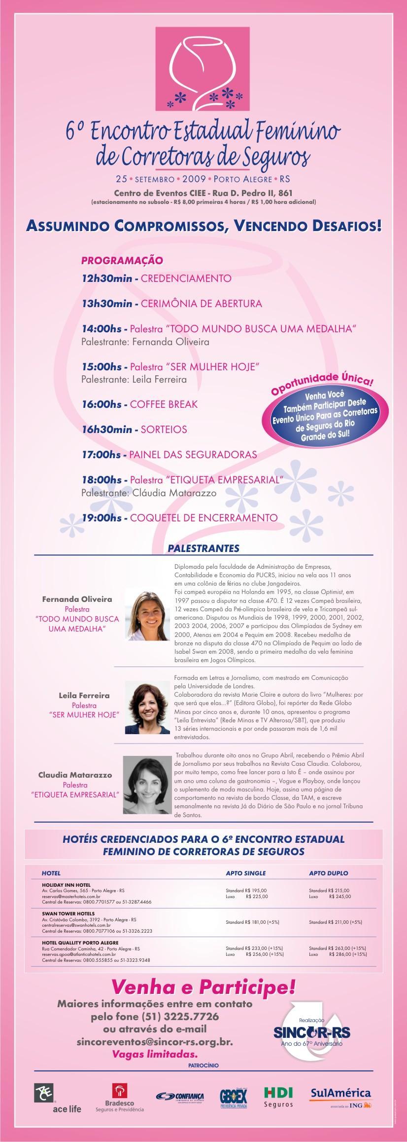 Programação Oficial 6º Encontro Feminino RS